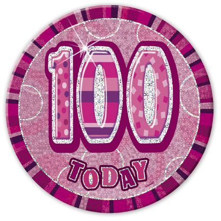 "PINK ""100"" TODAY PRISM AGE BIRTHDAY BADGES"