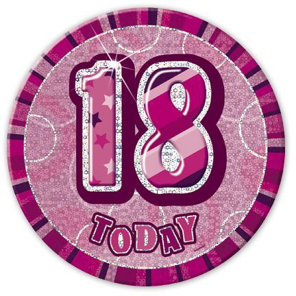 "PINK ""18"" TODAY PRISM AGE BIRTHDAY BADGES"