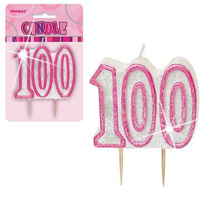 "PINK NUMERAL ""100"" GLITTER NUMERAL AGE BIRTHDAY CANDLES"