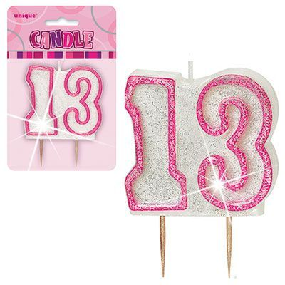 "PINK NUMERAL ""13"" GLITTER NUMERAL AGE BIRTHDAY CANDLES"