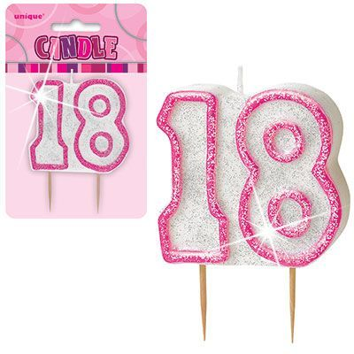 "PINK NUMERAL ""18"" GLITTER NUMERAL AGE BIRTHDAY CANDLES"