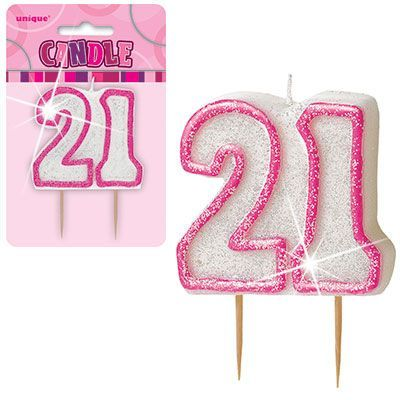 "PINK NUMERAL ""21"" GLITTER NUMERAL AGE BIRTHDAY CANDLES"