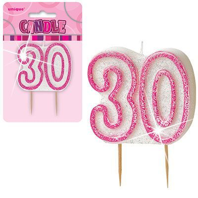 "PINK NUMERAL ""30"" GLITTER NUMERAL AGE BIRTHDAY CANDLES"