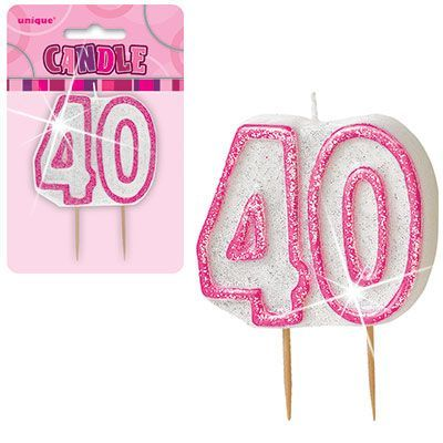 "PINK NUMERAL ""40"" GLITTER NUMERAL AGE BIRTHDAY CANDLES"