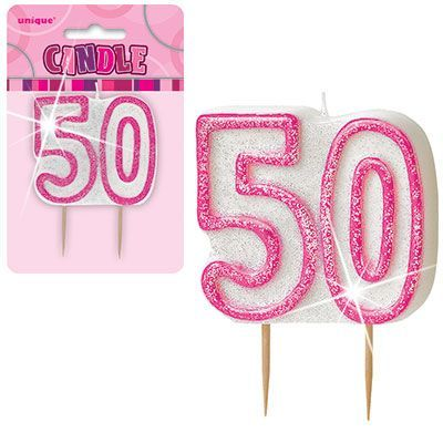 "PINK NUMERAL ""50"" GLITTER NUMERAL AGE BIRTHDAY CANDLES"