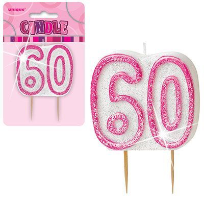 "PINK NUMERAL ""60"" GLITTER NUMERAL AGE BIRTHDAY CANDLES"