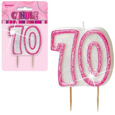 "PINK NUMERAL ""70"" GLITTER NUMERAL AGE BIRTHDAY CANDLES"