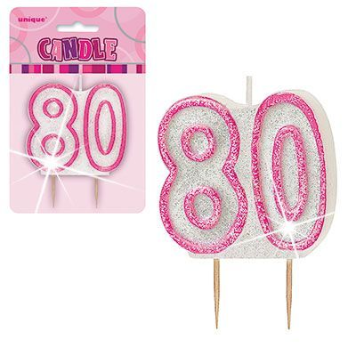"PINK NUMERAL ""80"" GLITTER NUMERAL AGE BIRTHDAY CANDLES"