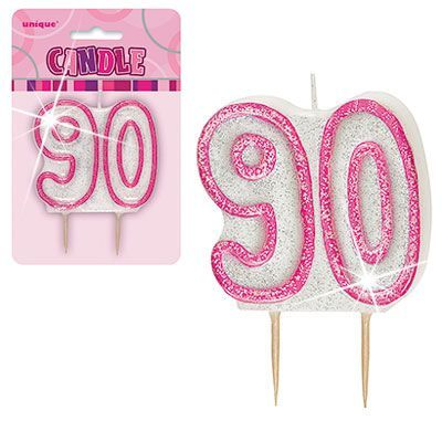 "PINK NUMERAL ""90"" GLITTER NUMERAL AGE BIRTHDAY CANDLES"
