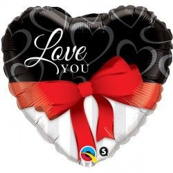 "RED RIBBONS LOVE YOU 18"" PKT"
