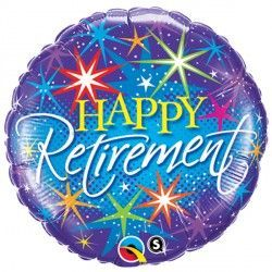 "RETIREMENT COLOURFUL BURSTS 18"" PKT"