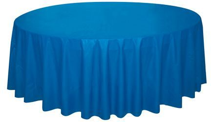 ROYAL BLUE ROUND PLASTIC TABLECOVER