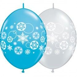 "SNOWFLAKES & CIRCLES QUICK LINK 12"" ROBIN'S & D/CLEAR (50CT)"