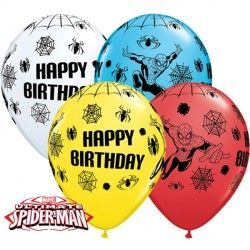 "SPIDER-MAN ULTIMATE BIRTHDAY 11"" WHITE, YELLOW, RED & ROBIN'S EGG BLUE (25CT)"