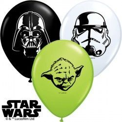 "STAR WARS FACES 5"" WHITE, ONYX BLACK & LIME GREEN (100CT)"