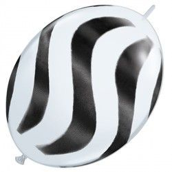 "WAVY STRIPES BLACK QUICK LINK 12"" WHITE (50CT)"