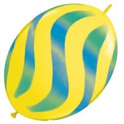 "WAVY STRIPES GREEN & BLUE QUICK LINK 12"" YELLOW (50CT)"