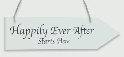 Wooden Arrow Whitewash 30.5cm x 7.6cm Happily Ever After 1pc